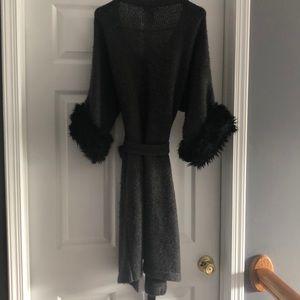 Kenar Sweaters - Kenar Wool Open Front Cardigan w/Faux Fur Sleeves